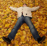 Autumn Star/What A Wonderful World. Man is enjoying the life Stock Images