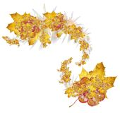 Autumn stars. Some (very much) abstract shapes+maple leaves+pink gem. Designers background Stock Images