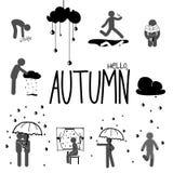 Autumn stick man set Stock Images