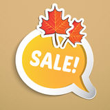 Autumn sticker with leaves. Royalty Free Stock Images