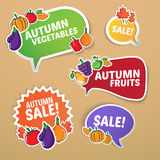 Autumn stickers set with fruits and vegetables. Royalty Free Stock Image