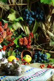 Autumn still life. Varicoloured fruit and vegetables lie on a canvas and on a background a foliage Royalty Free Stock Photography