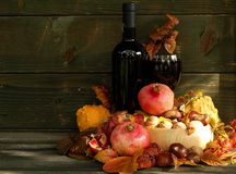 Autumn still life. Food, beverages and fruits of autumn Royalty Free Stock Image