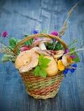 Autumn still-life. With full basket of mushrooms stock photos