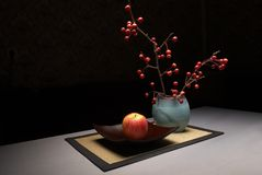 Autumn still life. Yellow-red apple in still life stock photography