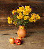 Autumn still life. With apple and flowers Stock Photos