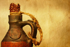 Autumn still life. Close up on a ceramic bottle Royalty Free Stock Photo