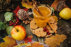 Autumn apple tea. Autumn still life with apple spice tea on the wooden background and maple leaves Royalty Free Stock Photo