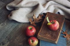 Autumn still life with apples, warm blanket, books and leaves over rustic wood background. Horizontal Royalty Free Stock Photo