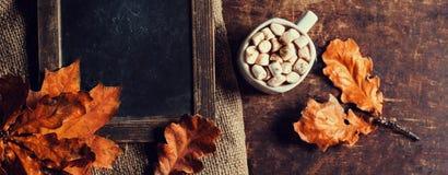 Autumn Still Life Background acogedor Otoño rojo y hojas de la naranja Fotos de archivo libres de regalías