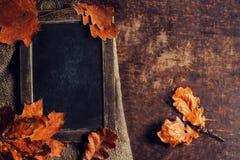 Autumn Still Life Background hermoso con la pizarra para el texto Fotografía de archivo libre de regalías