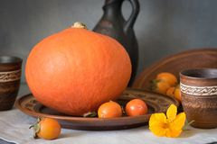 Autumn still life with big pumpkin and persimmon. Autumn still life with a large pumpkin and persimmon in ceramic dishes Royalty Free Stock Photo