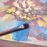 Autumn Still Life And Brush Stock Image
