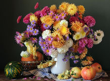 Autumn still life with chrysanthemums, apples and pumpkins on a Stock Photo
