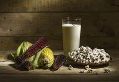 Autumn still life with corn. Autumn rural still life with corn, popcorn and milk Stock Images