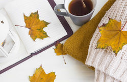 Autumn still life with cosy sweaters,notebook, tea cup,dried lea Stock Image
