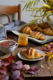 Autumn Still Life, croissant recentemente cozidos com canela e caramelo salgado, copo do chá e folhas da queda na tabela de madei foto de stock