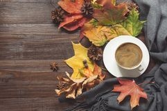 Autumn still life with cup of coffee,cone, cinnamon, warm scarf on wooden board. Copy space. Top view. Autumn still life with cup of black coffee, cone stock image