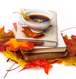 Autumn still life with a cup of tea Stock Photo