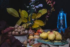 The autumn still life is decorated with a pear, walnut, pumpkin royalty free stock photos