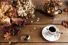 Autumn still life with dried leaves end flowers stock photos