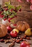 Autumn still life of fruit. Apples, nuts and pumpkin on the table Royalty Free Stock Photography