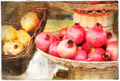 Autumn still life. Autumn harvest - lemons and garnets, artistic picture Royalty Free Stock Photography