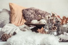 Free Autumn Still Life Home Decor In A Cozy House Stock Images - 159210864