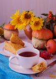 Autumn still life. Homemade Pumpkin Pie and tea. Stock Photo