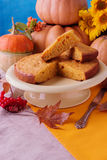 Autumn still life. Homemade Pumpkin Pie for Thanksgiving Day. Stock Images