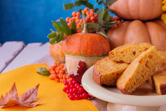 Autumn still life. Homemade Pumpkin Pie for Thanksgiving Day. Royalty Free Stock Photo