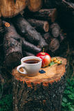 Autumn Still Life with hot tea, apple and dog-rose Royalty Free Stock Images