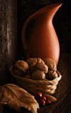 Autumn Still Life with Jug. Walnut, Almond and Rosehip. Wooden Background stock photo