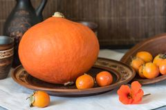 Autumn still life with big pumpkin and persimmon. Autumn still life with a large pumpkin and persimmon in ceramic dishes Royalty Free Stock Photography