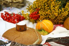 Autumn still life - loaf, pumpkin, mountain ash, tansy, wheat ears, salt,on a white tablecloth with lace Stock Images