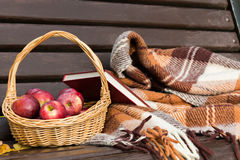 Autumn Still Life med äpplen i korgen och boken Royaltyfri Bild