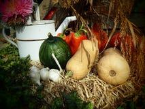 Autumn Still Life mit Blumen und Ernte stockbild