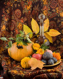 An autumn still life with pumpkin. An autumn still ife with pumpkin, carafe, flowers and fruits Royalty Free Stock Photo