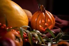 Autumn still life with pumpkin. Lamp stock photography