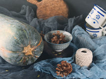 Autumn still life with pumpkin on dark background. Toned Royalty Free Stock Images