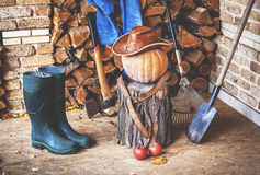 Autumn Still Life. Pumpkin, tool, wood, hat, boots on porch. Autumn porch. On the stump is large ripe pumpkin on a background of chopped firewood. It leather hat royalty free stock image