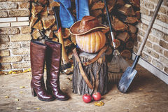 Autumn Still Life. Pumpkin, tool, wood, hat, boots on porch. Autumn porch. On the stump is large ripe pumpkin on a background of chopped firewood. It leather hat stock image