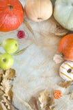 Autumn still life, pumpkins, apples, lollipops, dry oak leaves, Stock Image