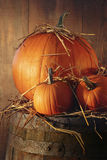 Autumn still life with pumpkins on barrel Royalty Free Stock Images