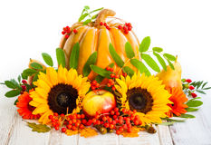 Autumn still life. With seasonal fruits,vegetables and flowers royalty free stock image