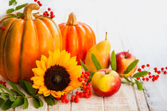 Autumn still life. With seasonal fruits,vegetables and flowers stock image
