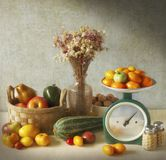 Autumn still life with seasonal vegetables stock images