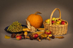 Autumn Still Life. In the studio with pumpkin, fruit and mushrooms Royalty Free Stock Photography