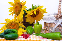 Autumn still life with sunflowers. Cucumbers and peppers Royalty Free Stock Images