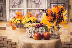 Autumn still life at the table covered with burlap: apples, grap. Es, yellow leaves and berries in vase. Close-Up Stock Photo
